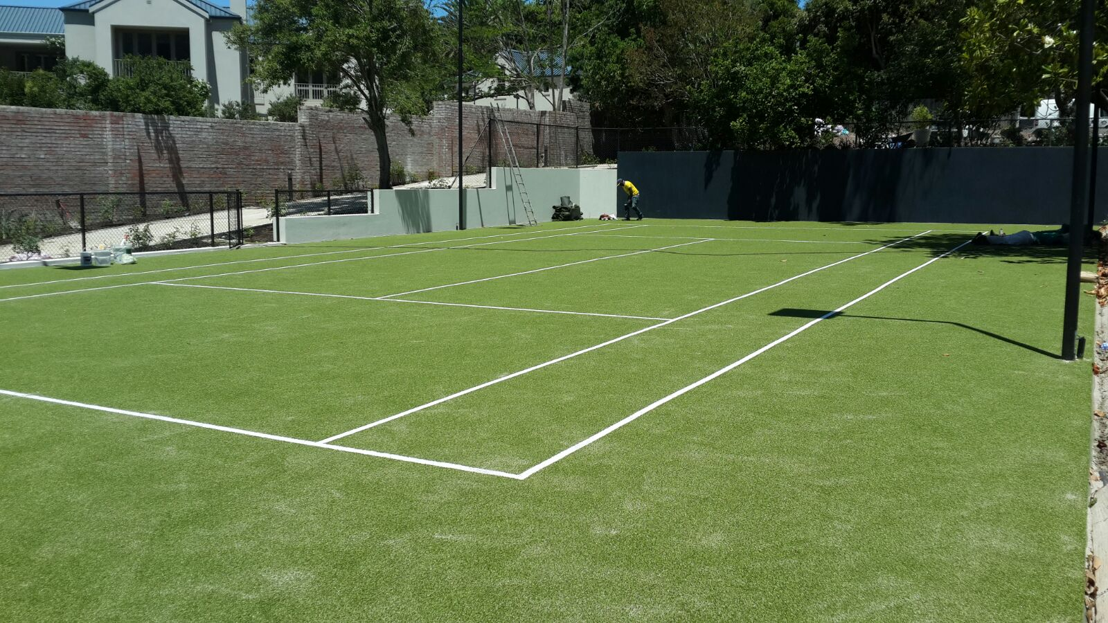 Tennis Court Fenced Artificial Grass Surface Synsport